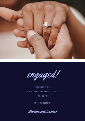 Navy Blue and Couple Hands Engagement Invitation Einladung zur Verlobung