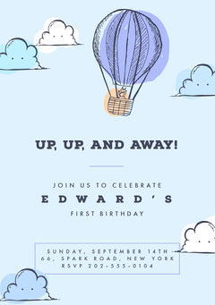 Blue and White, Light Toned Birthday Party Invitation Card Balloon
