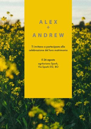 yellow floral wedding invitations  Invito tramite e-mail