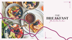 Black and Purple Breakfast Facebook Page Cover Restaurants