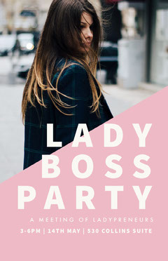 Pink and White Lady Boss Party Flyer Meeting Flyer