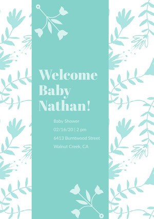 Blue and White Baby Shower Invitation Pregnancy Announcement
