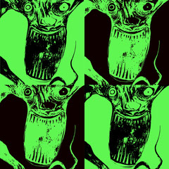 Green and Black Devil Instagram Graphic Scary