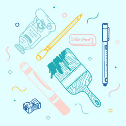 Blue, Pink and Yellow Office Supplies Instagram Post Illustration and Sticker Collection
