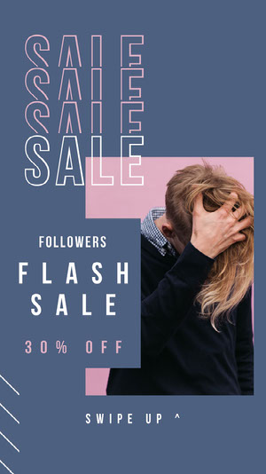 Blue and Pink, Light Toned, Flash Sale Ad, Instagram Story Advertisement