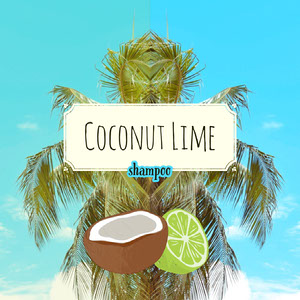Blue and Green Coconut Lime Tropical Exotic Shampoo Label Label