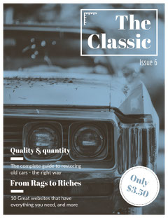 Blue Monochrome Vintage Car Magazine Cover with Photo Car
