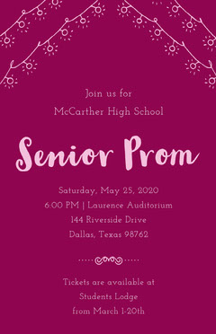 Purple High School Prom Flyer Back to School