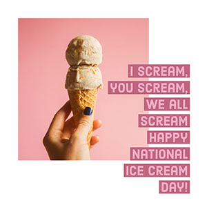 Pink and White Ice Cream Day Instagram Post Meme
