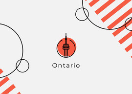 Red Minimal Geometric Ontario Canada Postcard with Landmark CN Tower Vykort
