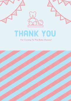 Pink and Blue Thank You Card Baby's First Year