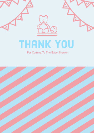 Pink and Blue Thank You Card Baby Shower Card