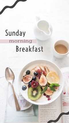 Breakfast Recipe Instagram Story with Fruit Salad Breakfast