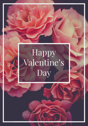 Pink Floral Happy Valentine's Day Card Cartão de dia dos namorados