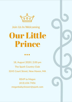 Blue and Gold Baby Shower Invitation Baby Shower