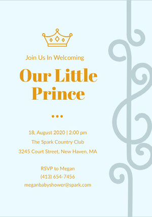Blue and Gold Baby Shower Invitation Baby Shower Card