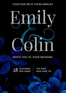 Black and Blue Modern Floral Wedding Invitation Wedding Invitation