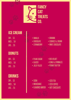 Red and Yellow Ice Cream Parlor Menu with Cat Logo Donut