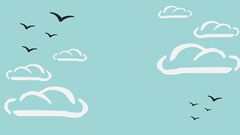 Blue Illustrated Sky Clouds and Birds Zoom Background Sky