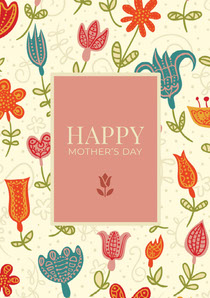 Orange Floral Pattern Mothers Day Card Mother's Day Card