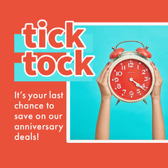 Blue and Orange Tick Tock Instagram Graphic Deal