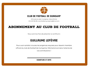 Abonnement au club de football  Certificat