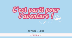 Blue and pink Time for adventure - Facebook Ad Flyer publicitaire
