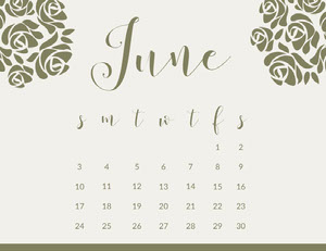 Gold Elegant Floral Calligraphy June Calendar Calendari