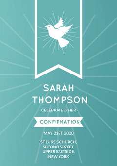 Blue and White, Light Toned Confirmation Announcement Card Christianity