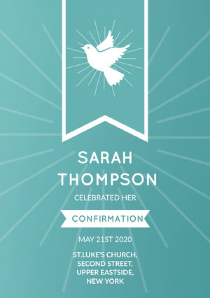 Blue and White, Light Toned Confirmation Announcement Card Confirmation Annoucement