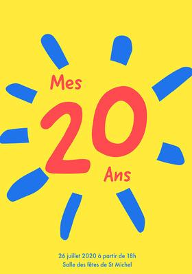 Yellow 20th Birthday Invite A5 Invitation d'anniversaire