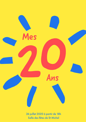 Yellow 20th Birthday Invite A5 Invitation à une fête