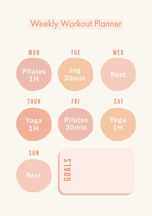 Pink and Orange Weekly Workout Planner A4  Workout Calendar