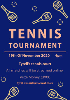 Blue and Yellow Illustrated Tennis Tournament Flyer Tennis