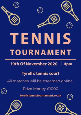 Blue and Yellow Illustrated Tennis Tournament Flyer Flyer