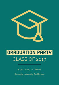 Yellow and Green Graduation Party Invitation Einladung zur Abschlussfeier