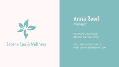 Turquoise Spa Manager Business Card with Logo Spa