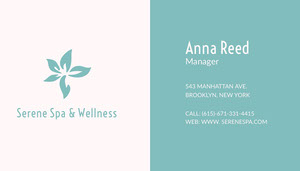 Turquoise Spa Manager Business Card with Logo Biglietto da visita