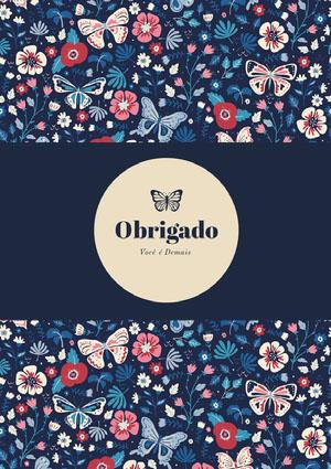 butterfly patterned thank you cards  Cartão de agradecimento