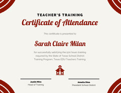 Red Teacher Training Attendance Certificate Teacher