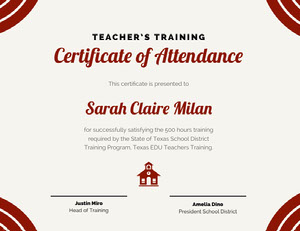 Red Teacher Training Attendance Certificate Certificato di diploma