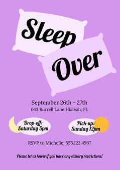 Purple Simple Sleepover Invitation Moon