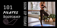 Black and White Pilates Advertisement Camping