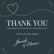 navy heart wedding thank you card Bryllupstakkekort