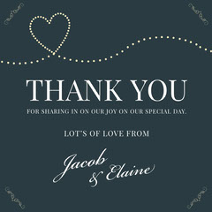 navy heart wedding thank you card Heart