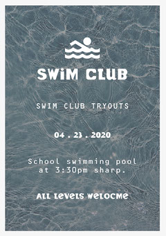 Grey and White Swim Team Flyer After School