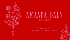 Red Playful Floral Business Card Floral Business Card