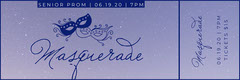 Navy Masks with Night Sky Masquerade Ball Prom Ticket Dance Flyers