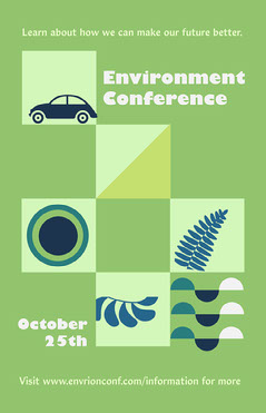 Green Illustrated Square Environmental Conference Poster  Conference Flyer