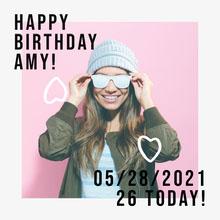Pink & White Happy Birthday Instagram Square Birthday Card
